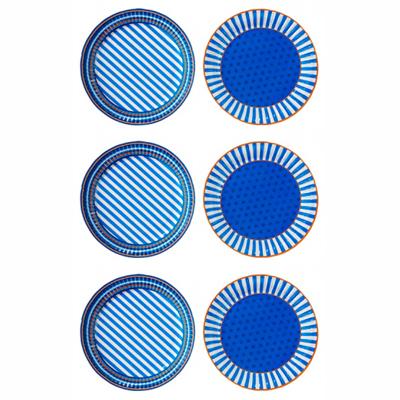 画像1: <送料無料>紙皿(23cm)ブルー 24枚セット (1)