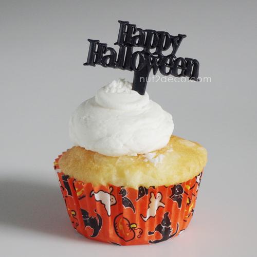 画像1: 〒 ケーキピック/Happy Halloween(ブラック)6本入 (1)