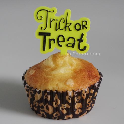 画像1: ケーキピック/Trick or Treat(ライムグリーン)5個入 (1)