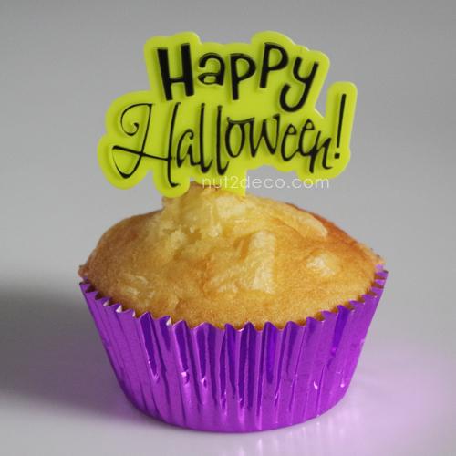 画像1: ケーキピック/Happy Halloween!(ライムグリーン)5個入 (1)