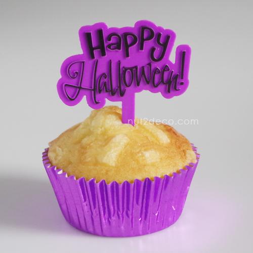 画像1: ケーキピック/Happy Halloween!(パープル)5個入 (1)