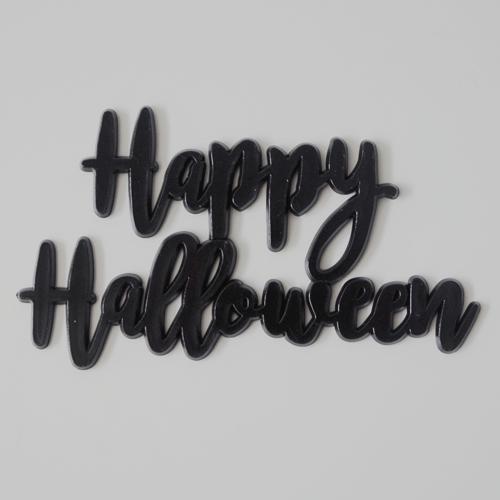 画像1: ケーキバナー/Happy Halloween(ブラック)3枚 (1)