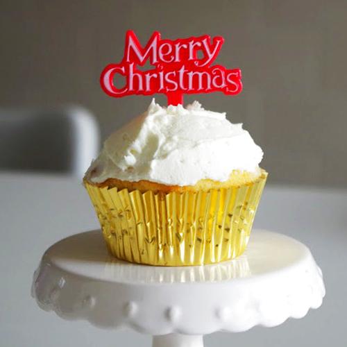 画像1: ケーキピック/クリスマス(Merry christmas レッド)5本 (1)