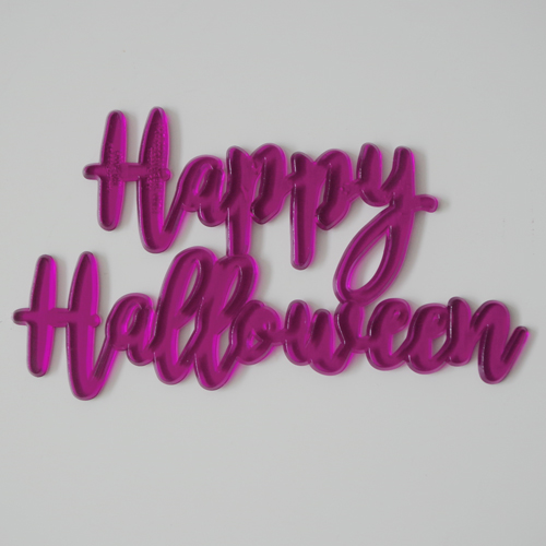 画像1: ケーキバナー/Happy Halloween(スケルトン・パープル)3枚 (1)