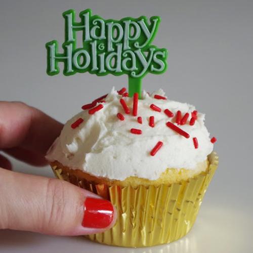 画像1: ケーキピック/クリスマス(Happy Holidays グリーン)5本 (1)