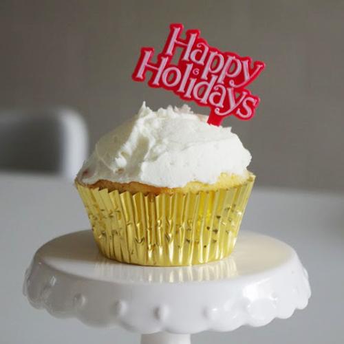 画像1: ケーキピック/クリスマス(Happy Holidays レッド)5本 (1)