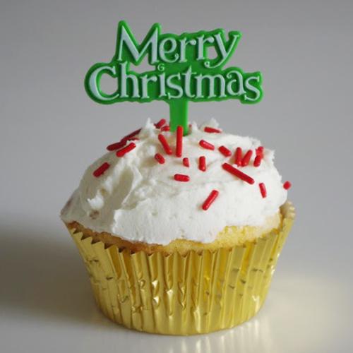 画像1: ケーキピック/クリスマス(Merry christmas グリーン)5本 (1)