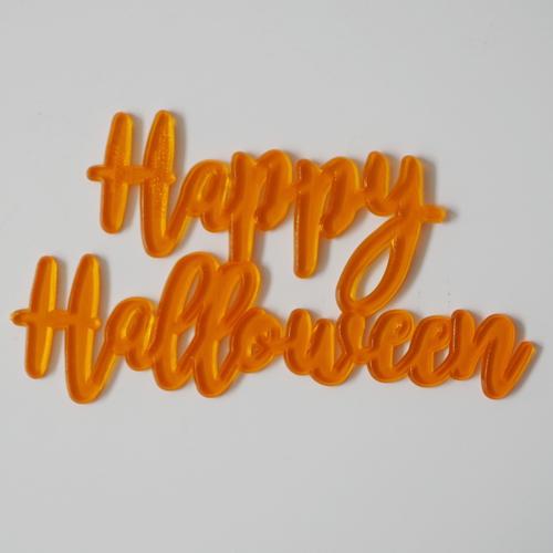 画像1: ケーキバナー/Happy Halloween(スケルトン・オレンジ)3枚 (1)