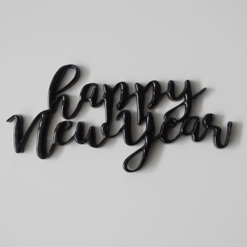 画像1: ケーキプレート/Happy New Year (ブラック) (1)