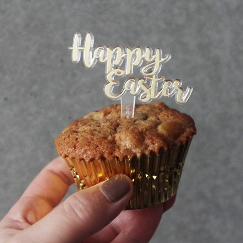 画像1: 〒 ケーキピック/Happy Easter(イースター)ゴールド 5本入 (1)