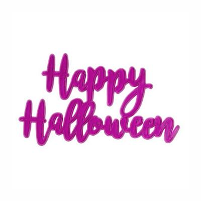 画像1: 〒 ケーキプレート/Happy Halloween(スケルトン・パープル)1枚 (1)