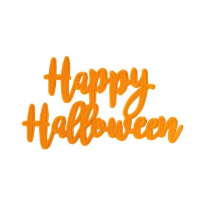 画像1: 〒 ケーキプレート/Happy Halloween(スケルトン・オレンジ)1枚 (1)