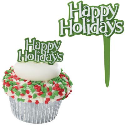画像1: 〒 ケーキピック/クリスマス(Happy Holidays グリーン)5本 (1)