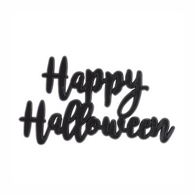 画像1: 〒 ケーキプレート/Happy Halloween(ブラック)1枚 (1)