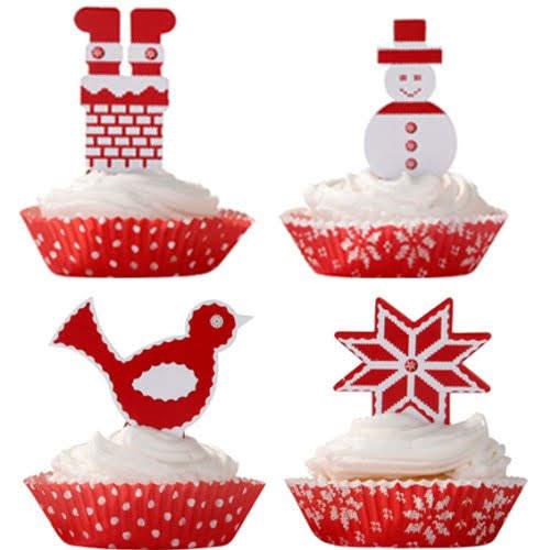 画像1: ベーキングカップ&トッパー/クリスマス (1)