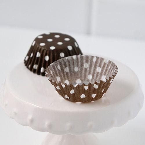画像1: ミニ★ベーキングカップ 500枚/ブラウン(茶)×白ドット (1)