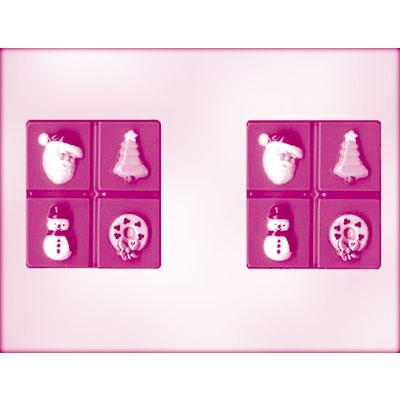 画像1: 〒 CK チョコレート型/クリスマスの4カット板チョコ (1)