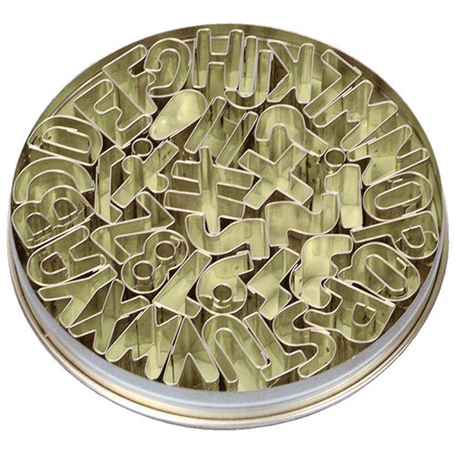 画像1: クッキー型(Stadter)アルファベット英字&数字&記号41個セット缶 (1)